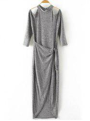 Cut Out Knitted Open Shoulder Maxi Dress -