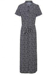 Maxi Short Sleeve Plaid Button Up Shirt Dress -