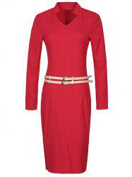 Long Sleeve Pencil Sheath Work Dress -