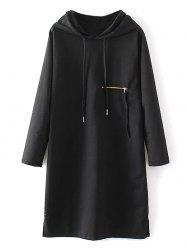 Zipper Insert String Hoodie Dress -