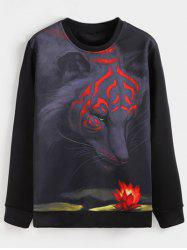 Crew Neck Flocking Tiger 3D Print Sweatshirt