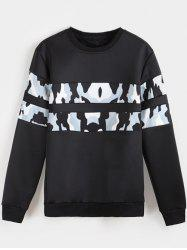Camo Panel Crew Neck Flocking Sweatshirt -