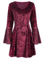 V Neck Bell Sleeve Velvet Skater Dress
