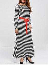 Long Sleeve V Back Striped Belted Maxi Dress
