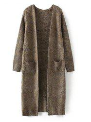 Marled Pocket Long Cardigan - KHAKI