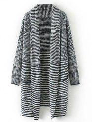 Stripe Shawl Cardigan With Pocket
