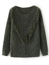 Ribbed Tassel Chunky Sweater -