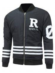 Striped Zip Up Graphic Padded Jacket -