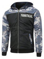Camo Insert Hooded Zip Up Padded Jacket - BLACK XL