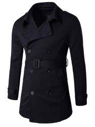 Epaulet Embellished Lapel Collar Double Breasted Coat - BLACK