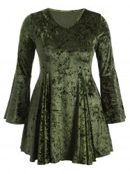 Bell Sleeve Velvet Fit and Flare Cocktail Dress - GREEN 3XL