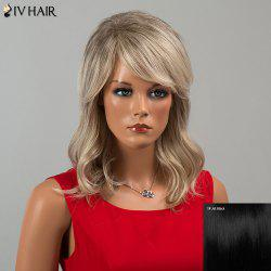 Siv Hair Medium Inclined Bang Wavy Human Hair Wig