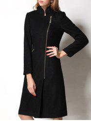 Slimming Wool Long Coat - BLACK