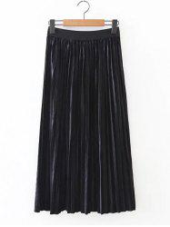 Retro Pleated Long Skirt -