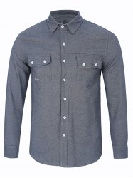 Long Sleeve Chest Pocket Button Up Shirt -