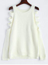 Slim Knit Hollow Out Sweater - WHITE L