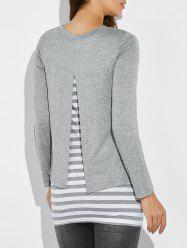 Striped Faux Twinset T-shirt - Gris Clair