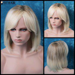 Siv Oblique Bang Short Straight Bob Human Hair Wig -