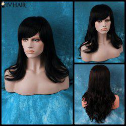 Siv Long Oblique Bang Slightly Curled Human Hair Wig -