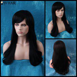 Siv Long Oblique Bang Natural Straight Human Hair Wig -