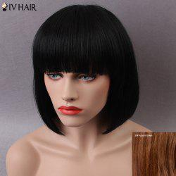 Siv Short Shaggy Full Bang Straight Bob Human Hair Wig
