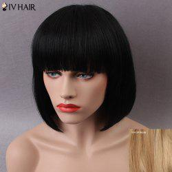 Siv Short Shaggy Full Bang Straight Bob Human Hair Wig - BLONDE