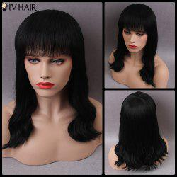 Siv Long Shaggy Full Bang Wavy Human Hair Wig -