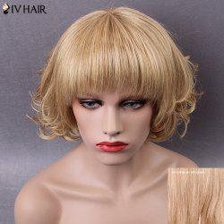Siv Short Shaggy Neat Bang Curly Human Hair Wig - BROWN WITH BLONDE