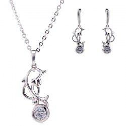 Filigree Dolphin Rhinestone Pendant Necklace Set - SILVER