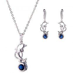 Dolphin Zircon Pendant Necklace Set - BLUE
