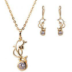 Hollow Out Dolphin Zircon Pendant Necklace Set - GOLDEN