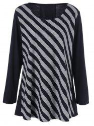 Plus Size Striped Patchwork Tee