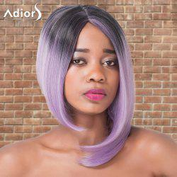 Adiors Short Asymmetry Ombre Side Parting Straight Tail Adduction Cosplay Synthetic Wig -