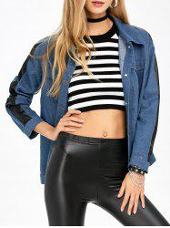 PU Leather Trim Denim Shirt Jacket -