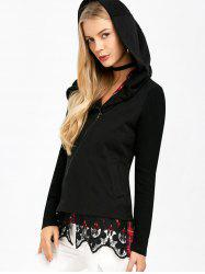 Asymmetrical Zip Hooded Jacket with Lace Trim -