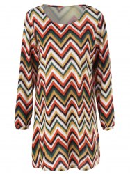 Plus Size Zigzag Long Sleeve Shift Dress