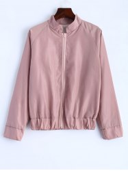 Letter Print Stand Collar Jacket -