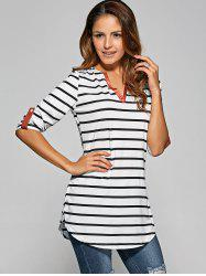 Stripe Irregular Loose Top
