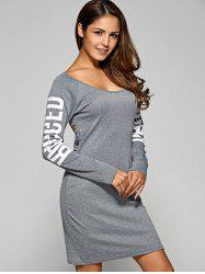 Letter Ripped Backless Long Sleeve Tee Dress - GRAY XL