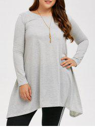 Plus Size Long Sleeve Asymmetric Linen T-Shirt