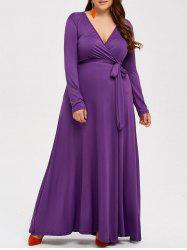 Plus Size Long Sleeve Wrap Maxi Prom Dress