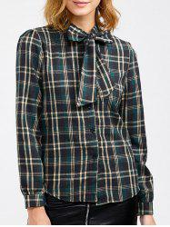Plaid Pussy Bow Blouse - GREEN ONE SIZE