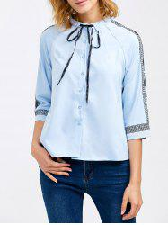 Chiffon Pussy Bow Embroidery Trim Blouse - CLOUDY XL