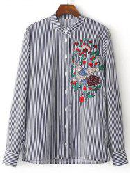 Embroidered Button Up Striped Shirt