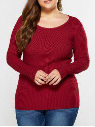 Slim Fit Ribbed Knitwear - WINE RED 4XL
