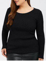 Slim Fit Ribbed Knitwear - BLACK