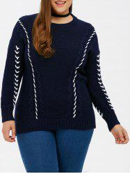 Braid Knit Crew Neck Sweater