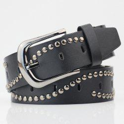 Pin Buckle Wavy PU Wide Studded Waist Belt -