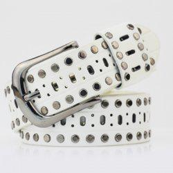 Pin Buckle Hollow Out Hole PU Studded Waist Belt -