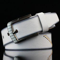 Pin Buckle Sewing Thread Wide Casual Belt - WHITE